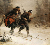 The two Birkerbeiners brought the young Haakon Haakonssøn to safety in 1206 across the stormy and dangerous mountains from Lillehammer to Østerdalen.