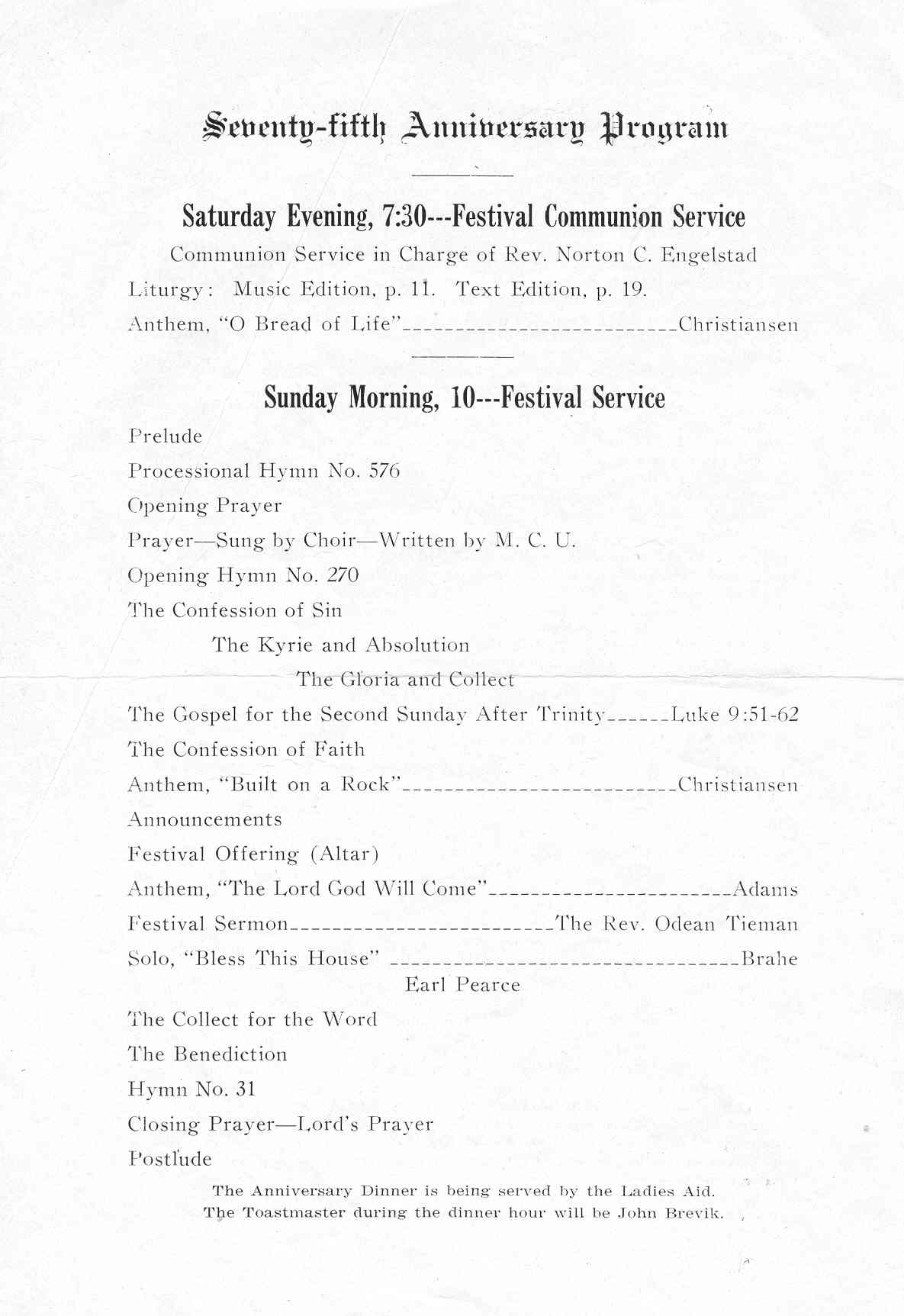 History of the Calumet Norwegian Lutheran Church